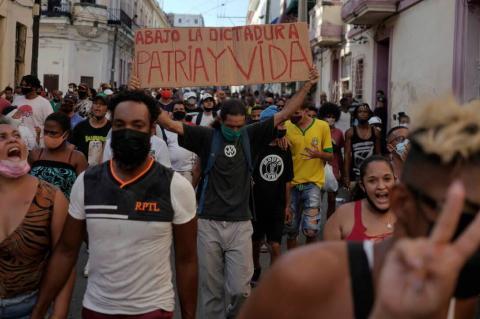 Protestas en las calles de La Habana, 11 de julio de 2021. (REUTERS)
