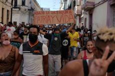 Manifestantes en una calle de La Habana el pasado 11 de julio. (EL ESPAÑOL)
