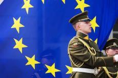 Guardia de Lituania ante la bandera de la UE. (AFP)
